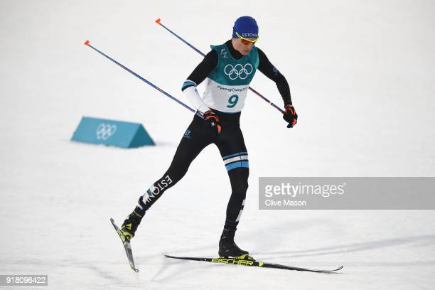 Kristjan Ilves of Estonia competes during the Nordic Combined Individual Gundersen Normal Hill and 10km Cross Country on day five of the PyeongChang...
