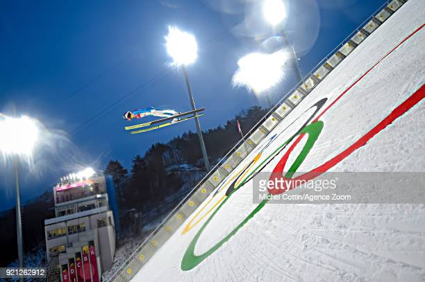 Kristjan Ilves of Estonia competes during the Nordic Combined Large Hill/10km at Alpensia CrossCountry Centre on February 20 2018 in Pyeongchanggun...