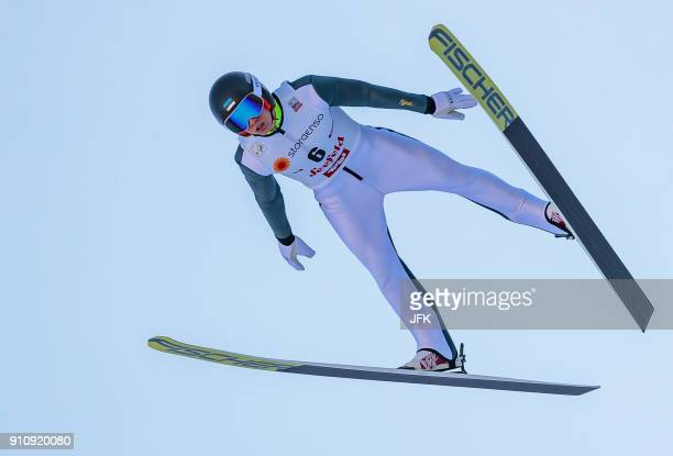 Kristjan Ilves of Estonia competes during the Ski jumping competition of the Seefeld Nordic Combined Triple' at FIS Nordic Combined World Cup in...