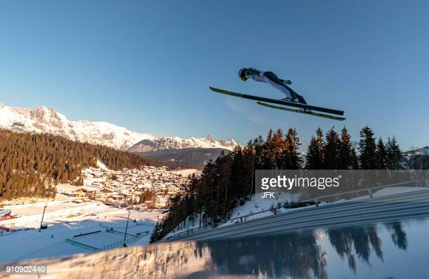 Kristjan Ilves of Estonia competes during the trial jump during the Seefeld Nordic Combined Triple of FIS Nordic Combined World Cup on 27 January...