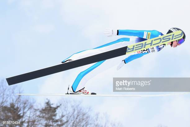 Kristjan Ilves of Estonia competes in the Individual Gundersen LH/10km during day one of the FIS Nordic Combined World Cup Hakuba on February 3 2018...