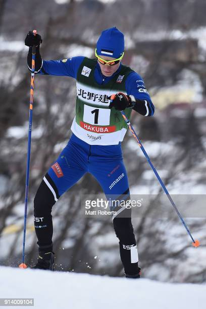 Kristjan Ilves of Estonia competes in the Individual Gundersen LH/10km during day two of the FIS Nordic Combined World Cup Hakuba on February 4 2018...