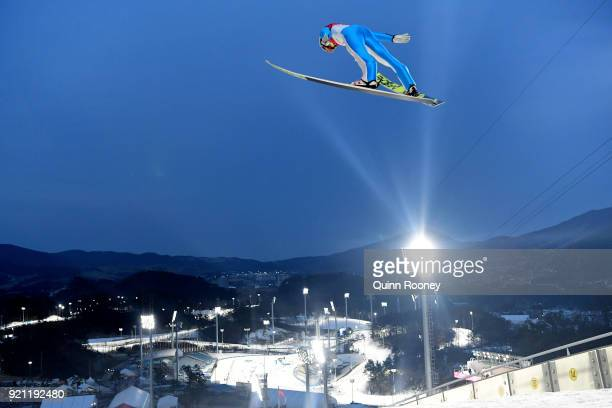 Kristjan Ilves of Estonia jumps during the Nordic Combined Individual Gundersen Large Hill Ski Jumping trial round on day eleven of the PyeongChang...