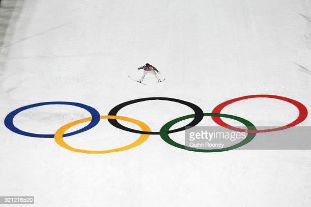 Kristjan Ilves of Estonia jumps during the Nordic Combined Individual Gundersen Large Hill Ski Jumping competition round on day eleven of the...
