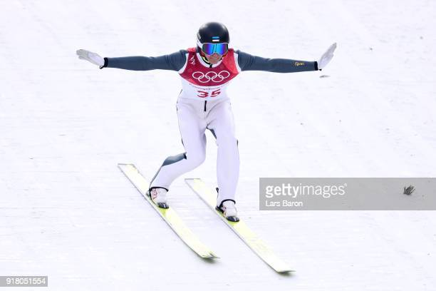 Kristjan Ilves of Estonia lands a jump during the Nordic Combined Individual Gundersen Normal Hill and 10km Cross Country on day five of the...