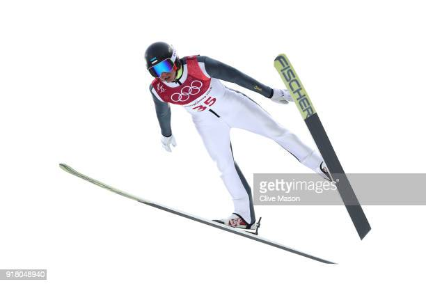 Kristjan Ilves of Estonia makes a jump during the Nordic Combined Individual Gundersen Normal Hill and 10km Cross Country on day five of the...