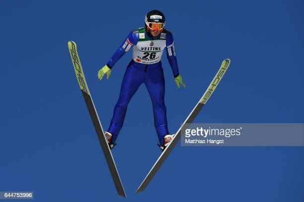 Kristjan Ilves of Estonia makes a practice jump prior to the Men's Nordic Combined HS100 during the FIS Nordic World Ski Championships on February 24...