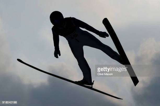 Kristjan Ilves of Estonia makes a trial jump during the Nordic Combined Individual Gundersen Normal Hill and 10km Cross Country on day five of the...