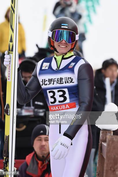 Kristjan Ilves of Estonia smiles after his jump in the Individual Gundersen LH/10km during day one of the FIS Nordic Combined World Cup Hakuba on...