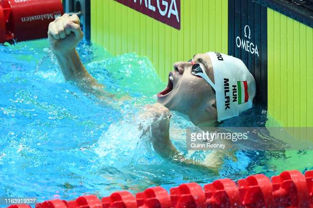 Kristof Milak of Hungary celebrates after setting a new world record of 15073 in the Men's 200m Butterfly Final on day four of the Gwangju 2019 FINA...