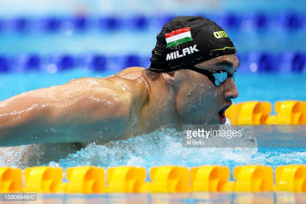 Kristof Milak of Team Hungary competes in heat five of the Men's 200m Butterfly on day three of the Tokyo 2020 Olympic Games at Tokyo Aquatics Centre...