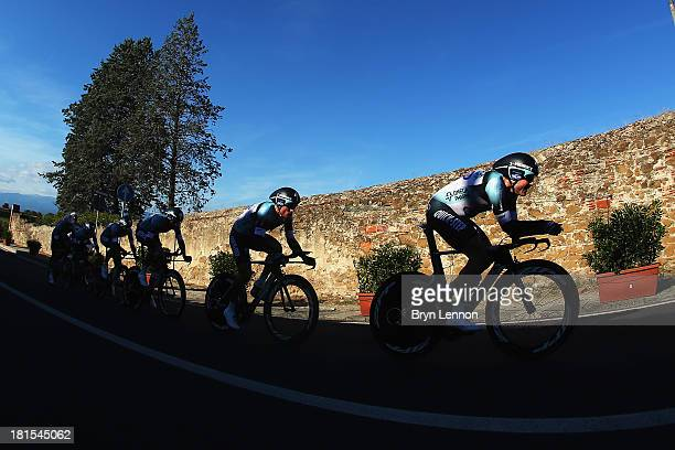 Kristof Vandewalle of Belgium leads the Omega Pharma Quick Step team on their way to winning the Elite Men's Team Time Trial on day one of the UCI...