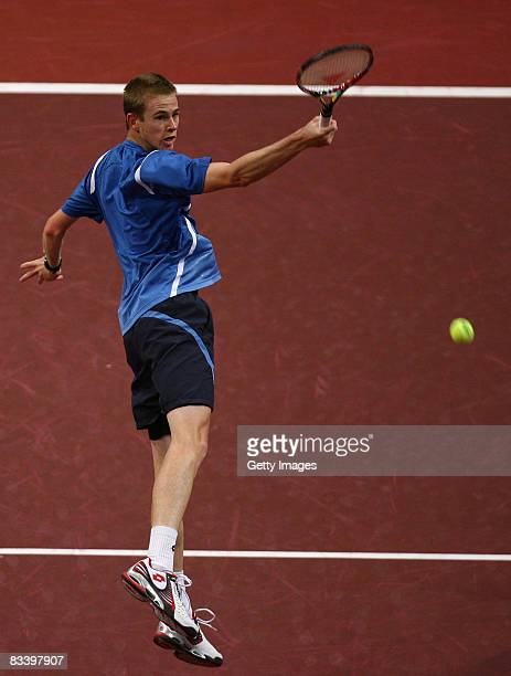 Kristof Vliegen of Belgium in action during the singles match against David Nalbandian of Argentina during the 4th Day of the ATP Davidoff Swiss...