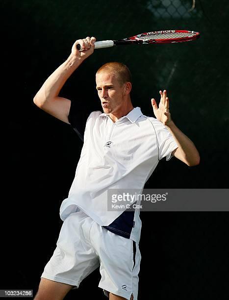Kristof Vliegen of Belgium on Day 1 of the Atlanta Tennis Championships at the Atlanta Athletic Club on July 19, 2010 in Atlanta, Georgia.