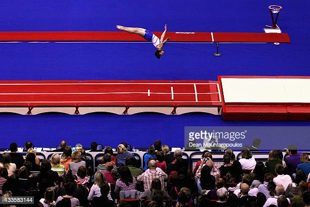 Kristof Willerton of Great Britain competes in the Tumbling Men Team final during the 28th Trampoline and Tumbling World Championships at National...