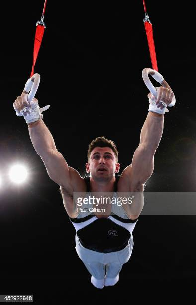 Kristofer Done of New Zealand competes on the rings in the Men's AllAround Final at the SSE Hydro during day seven of the Glasgow 2014 Commonwealth...