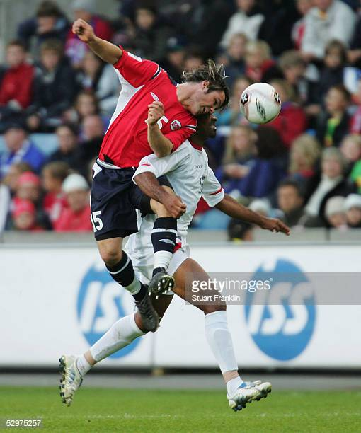 Kristofer Haestad of Norway in action against Mauricio Wright of Costa Rica during The International Friendly match between Norway and Costa Rica at...