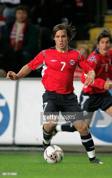 Kristofer Haestad of Norway in action during the World Cup 2006 playoff match between Norway and The Czech Republic at the Ullevaal stadium on...