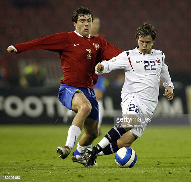 Kristofer Haestad right of Norway challenges for the ball with Ivan Ergic left of Serbia during their international friendly soccer match Wednesday...