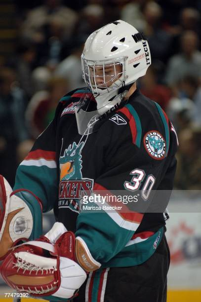 Kristofer Westblom of the Kelowna Rockets defends the net against the Everett Silvertips on October 19 2007 at Prospera Place in Kelowna Canada