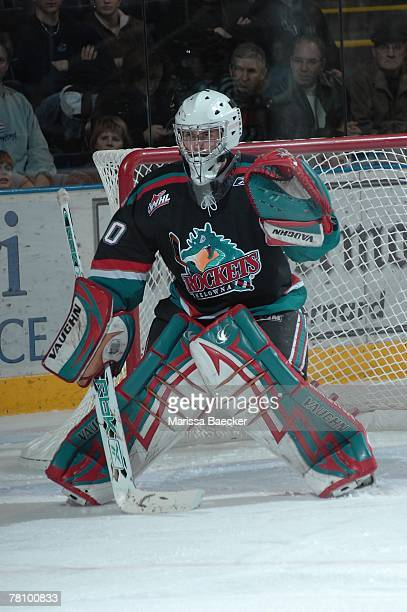 Kristofer Westblom of the Kelowna Rockets defends the net against the Kootenay Ice at Prospera Place on November 23 2007 in Kelowna Canada