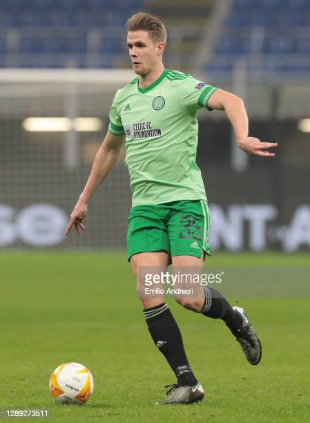 Kristoffer Ajer of Celtic FC in action during the UEFA Europa League Group H stage match between AC Milan and Celtic at San Siro Stadium on December...