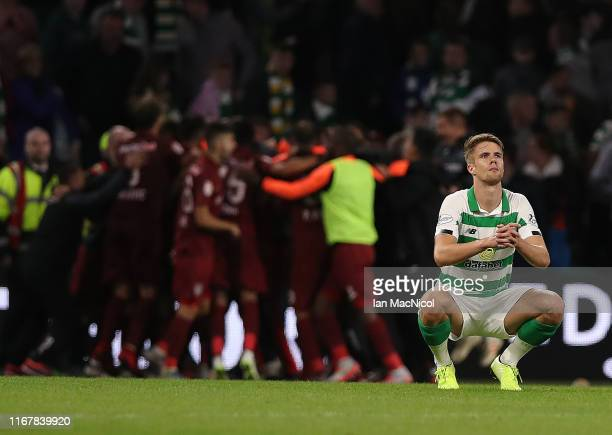 Kristoffer Ajer of Celtic reacts at full time during the UEFA Champions League, third qualifying round, second leg match between Celtic and CFR Cluj...