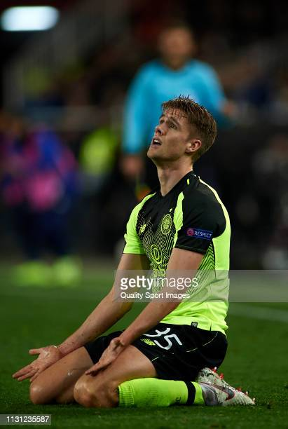 Kristoffer Ajer of Celtic reacts on the pitch during the UEFA Europa League Round of 32 Second Leg match between Valencia v Celtic at Estadio...
