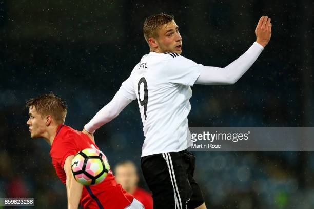 Kristoffer Ajer of Norway and Felix Platte of Germany battle for the ball during the UEFA Under21 Euro 2019 Qualifier match between U21 of Norway and...