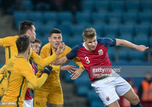 Kristoffer Ajer of Norway during International Friendly between Norway v Australia at Ullevaal Stadion on March 23 2018 in Oslo Norway