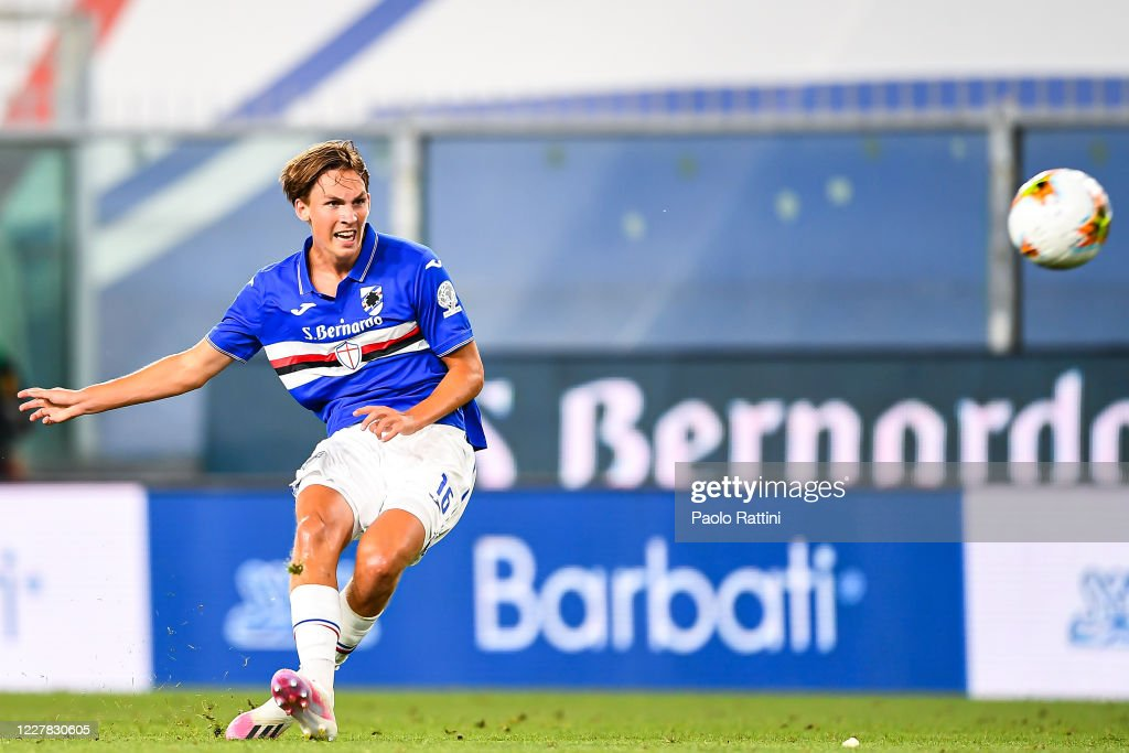 Kristoffer Askildsen of Sampdoria scores a goal during the Serie A... News Photo - Getty Images
