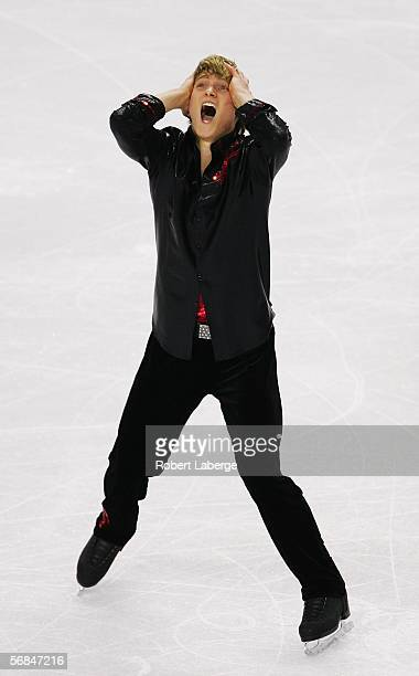 Kristoffer Berntsson of Sweden competes in the Men's Short Program Figure Skating during Day 4 of the Turin 2006 Winter Olympic Games on February 14...