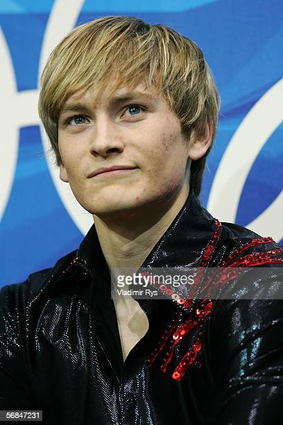 Kristoffer Berntsson of Sweden waits for his scores after competing in the Men's Short Program Figure Skating during Day 4 of the Turin 2006 Winter...