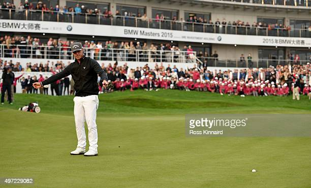 Kristoffer Broberg of Sweden celebrates his birdie putt in the playoff during the final round of the BMW Masters at Lake Malaren Golf Club on...