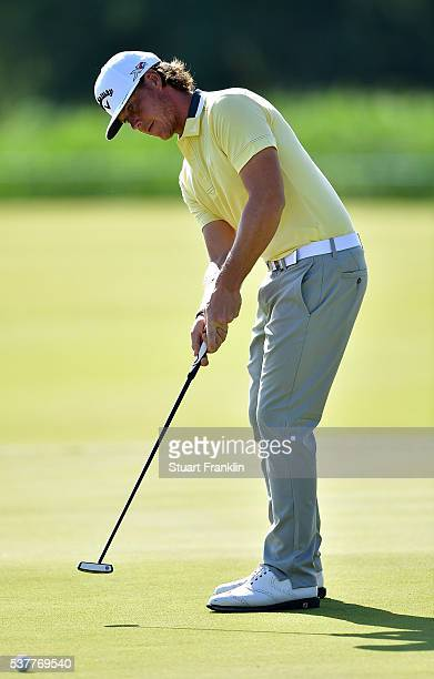 Kristoffer Broberg of Sweden hits a putt on the 13th hole during the second round on day two of the Nordea Masters at Bro Hof Slott Golf Club on June...