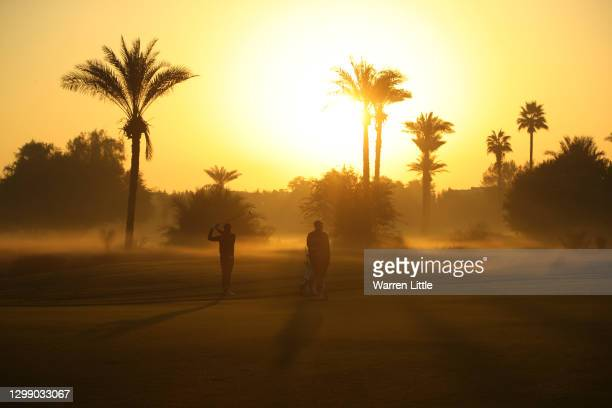 Kristoffer Broberg of Sweden plays his second shot on the tenth during Day One of the Omega Dubai Desert Classic at Emirates Golf Club on January 28,...