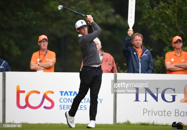 Kristoffer Broberg of Sweden plays his tee shot to the 10th hole during Day Two of the Dutch Open at Bernardus Golf on September 17, 2021 in...