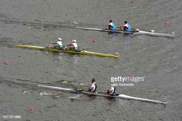 Kristoffer Brun and Are Strandli of Norway Gary O'Donovan and Paul O'Donovan of Ireland and Stefano Oppo and Pietro Ruta of Italy compete in the...