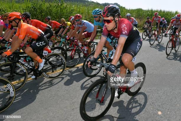 Kristoffer Halvorsen of Norway and Team INEOS / Davide Villella of Italy and Astana Pro Team / Simon Spilak of Slovenia and Team Katusha Alpecin /...