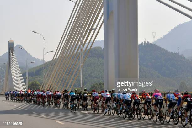 Kristoffer Halvorsen of Norway and Team INEOS / Enric Mas Nicolau of Spain and Team Deceuninck QuickStep Red Leader Jersey / Hamish Schreurs of New...