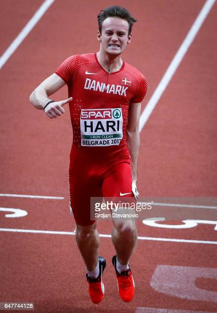 Kristoffer Hari of Denmark competes in the Men's 60 metres heats on day two of the 2017 European Athletics Indoor Championships at the Kombank Arena...