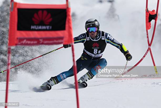 Kristoffer Jakobsen of Sweden in action during the Audi FIS Alpine Ski World Cup Team Parallel Slalom on March 19, 2021 in Lenzerheide, Switzerland.