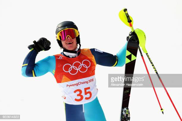 Kristoffer Jakobsen of Sweden reacts at the finish during the Men's Slalom on day 13 of the PyeongChang 2018 Winter Olympic Games at Yongpyong Alpine...