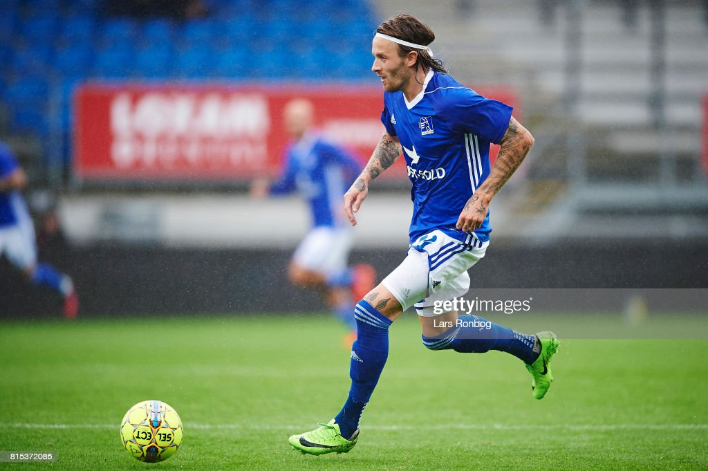 Kristoffer Larsen of Lyngby BK in action during the Danish Alka Superliga match between Lyngby BK and Silkeborg IF at Lyngby Stadion on July 16, 2017 in Lyngby, Denmark.