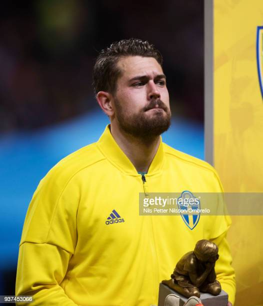 Kristoffer Nordfeldt goalkeeper of Sweden during the International Friendly match between Sweden and Chile at Friends arena on March 24 2018 in Solna...