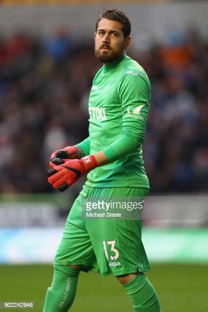 Kristoffer Nordfeldt of Swansea City during the Emirates FA Cup Third Round match between Wolverhampton Wanderers and Swansea City at Molineux on...