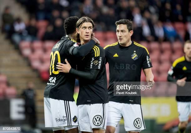 Kristoffer Olsson Chinedu Obasi of AIK celebrates after scoring during the Allsvenskan match between Orebro SK AIK at Behrn Arena on November 5 2017...