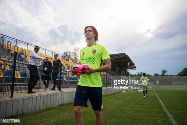 Kristoffer Olsson during the Swedish U21 national team training at Stadion Miejski on June 12 2017 in Swidnik Poland