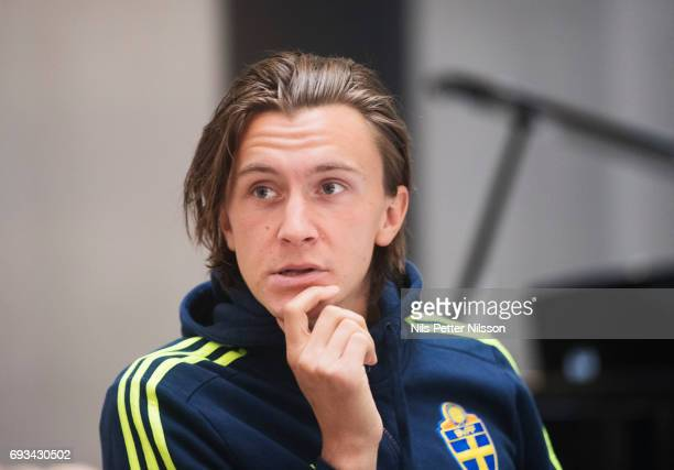 Kristoffer Olsson is being interviewed after the U21 national team training session at Olympia on June 7 2017 in Helsingborg Sweden
