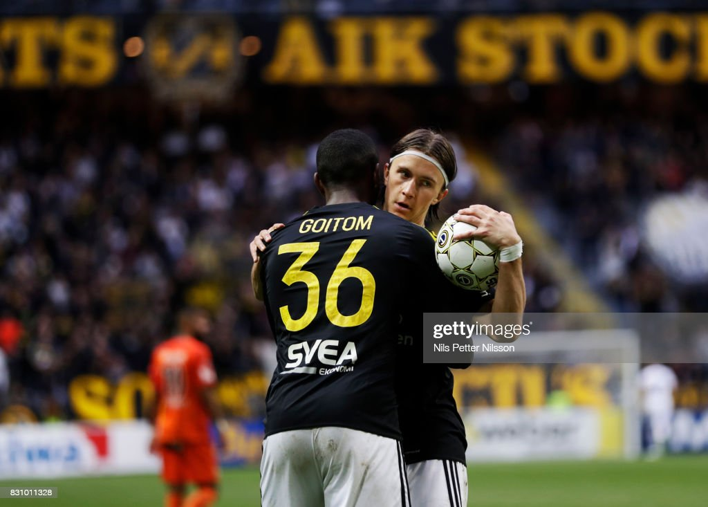 Kristoffer Olsson of AIK celebrates after scoring to 1-1 during the Allsvenskan match between AIK and Athletic FC Eskilstura at Friends arena on August 13, 2017 in Solna, Sweden.